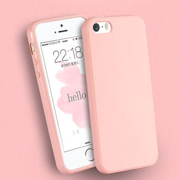Fashion Solid Candy Color TPU Rubber Case Cover for iPhone 7 6 Silicone Case Glossy Back Cover for iPhone 7 6s Plus 5 5s 5c 4 4s