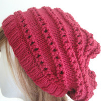 Knitting Pattern - Carmin Slouch Hat with Horizontal Lace, Knit Purl Eyelets, Beret Tam Slouchy Beanie, Easy Knit