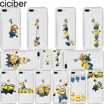 ciciber Yellow Minions Cute Despicable Pattern Design Soft Silicone Phone Cases Cover for Iphone 7 6 6S 8 Plus 5S SE X Fundas