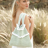Crochet handbag beach bag green bag women bag cotton bag boho bag lolita bag pink handbag shoulder bag summer fashion Drops Lilith