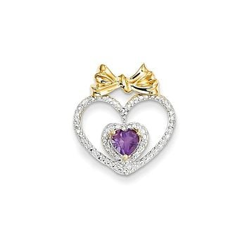 14k Yellow Gold Diamond and Amethyst Heart Pendant
