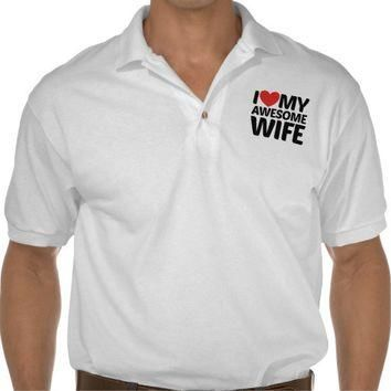 I Love My Awesome Wife Jersey Polo Shirt from Zazzle.com