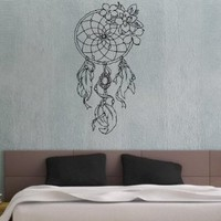 Dreamcatcher Dream Catcher Feathers Wall Vinyl Decal Art Sticker Home Modern Stylish Interior Decor for Any Room Smooth and Flat Surfaces Housewares Murals Graphic Bedroom Living Room (2519)