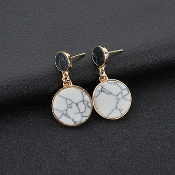 Terreau Kathy Simple Double Circle Marble Stone Earrings for Women Brincos Stud Earrings Statement Pendientes