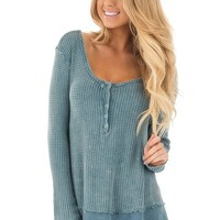 Dusty Teal Mineral Wash Textured Long Sleeve Loose Fit Top