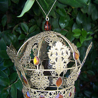 LARGE Crown Christmas Tree Ornament Filigree Decoration