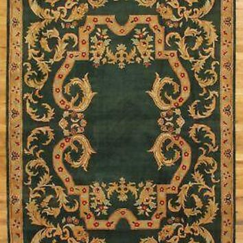 Hand-knotted Area Rug 6' x 9' New Emerald Green Green Jaipur Plush Wool Rug