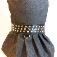 RockinDogs Black and Silver Denim Studded Dog Dress