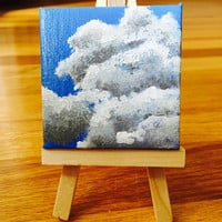 Miniature Clouds Painting in Acrylic on Tiny Canvas