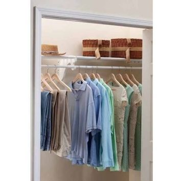"EZ Shelf 28""-48"" Expandable Closet Shelf and Rod, White, No Brackets, For Mounting to 2 Sidewall - Walmart.com"