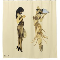 Two Vintage Retro Ladies Art Nouveau Style Shower Curtain