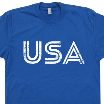 USA T Shirt Vintage Patriotic Shirt Cool USA Logo T Shirt USA Soccer Shirt