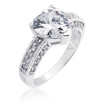 Bling Jewelry Sterling Silver Heart Shaped CZ Engagement Ring