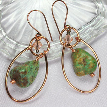 Copper Turquoise Earrings, Turquoise Hoop Earrings, Wire Wrapped, Genuine Turquoise, Handmade Copper Jewelry