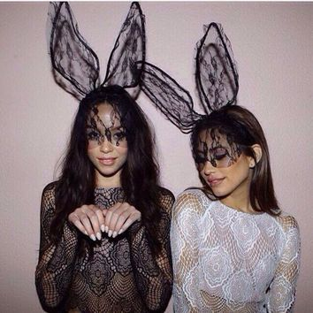 ESBONDO Lace lace rabbit ears prom fashion perspective veil headband Talk about cute and sassy! Get in-touch with your flirt side with these bunnies