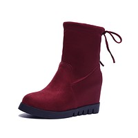 Lace Up Wedge Boots for Woman 8642