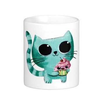 Cute Kitty Cat with Kawaii Cupcake Coffee Mugs from Zazzle.com