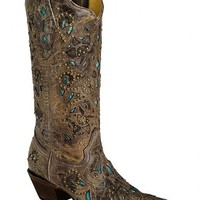 Corral Studded Turquoise Leather Inlay Cowgirl Boots - Snip Toe - Sheplers