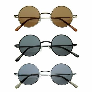 Retro 1970s Lennon Round Sunglasses 9014 [3 Pack]