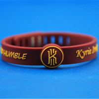 1pcs new top quality Metal buckle power wristband with Kyrie Irving logo lanyard basketball sport energy silicone bracelet