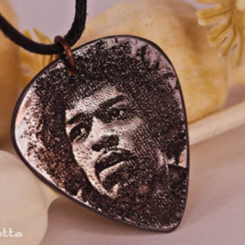 "Jimi Hendrix guitar pick necklace - Guitar gods- guitar gifts jewelry - ""Classy Pick"" brand"