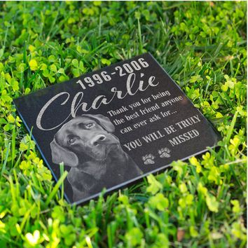 Personalized Memorial Pet Stone Granite - Engraved Headstone with YOUR Pets Photo Burial Cemetery Stone, Grave Marker for Best Companion #10