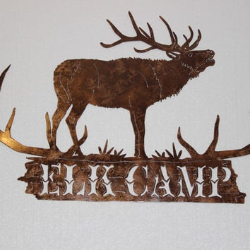 Elk Camp with Antlers Hunting Sign Large Metal Wall Art Country Rustic Decor