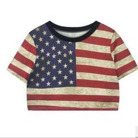 Vintage Sexy Casual American Flag Top