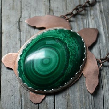 Sea Turtle Pendant Copper and Malachite Green Pendant Turtle Necklace Bezel Set Malachite World Turtle Handmade Soldered Turtle