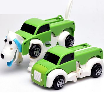 Free Shipping 14CM Cool Automatic Transform Dog Car Vehicle Clockwork Wind Up Toy for Children Kids Boy Girl Toy Gift ZJD