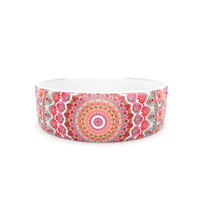 "Iris Lehnhardt ""Summer Lace III"" Circle Pink Green Pet Bowl"