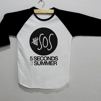 5 SOS 5 Seconds of Summer Long Sleeve Tee Shirt T-Shirt Top Unisex Size