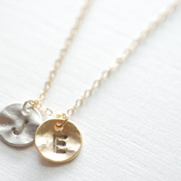 Two Initial Necklace- Personalized Initials, Initial disc,Letter Necklace,Personalized Charm,Round disc Necklace,Dainty Jewelry Heirloometsy
