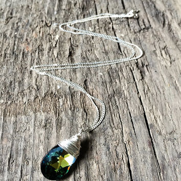 Small Crystal Drop Necklace / Personalized Necklace  / Spring Swarovski Jewelry / Sterling Silver / Wire Wrapped Pendant Necklace Add Charm
