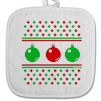 Ugly Christmas Sweater Ornaments White Fabric Pot Holder Hot Pad