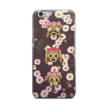Monkey Flower Crown Emoji's In Floral Garden With Daisy's iPhone 4 4s 5 5s 5C 6 6s 6 Plus 6s Plus 7 & 7 Plus Case
