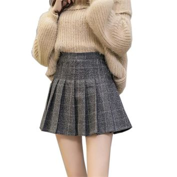 2018 Autumn High Waist Pleated A-line Skirts Girls Harajuku Woolen Plaid Skirts Uniform Japanese School Mini Skirt