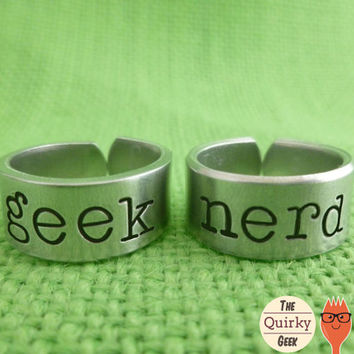 Geek - Nerd -  Matching Hand Stamped Adjustable Rings