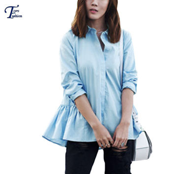 Female 2016 Spring Newest Fashionable Tops High Street Semi Formal Work Wear Blue Long Sleeve Lapel Ruffle Hem Buttons Blouse