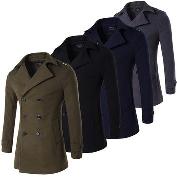 Army Green Grey Navy Black Male Pea Coat Double Breasted Military Trench Coat Men Peacoat Winter Long Trenchcoat Plus Size 4XL