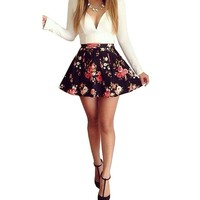 Womens Long Sleeves V-neck Floral Printed Prom Ball Short Swing Bodycon Dress
