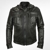 Forzieri Men's Black Leather Motorcycle Jacket  | FORZIERI