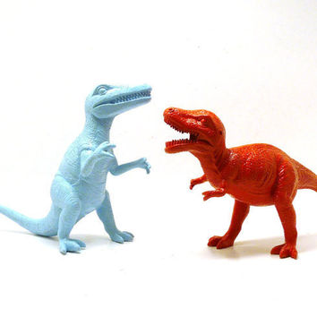 dinosaurs fathers day upcycled toys kitsch figurine by nashpop