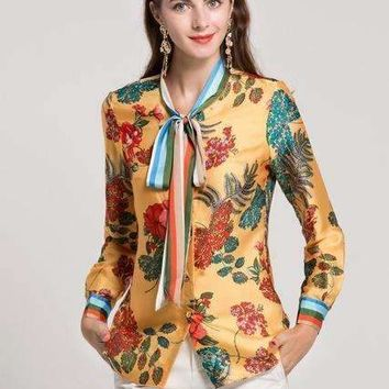Womens Bow Collar Long Sleeve Floral Printed Runway Shirts All Match Blouses