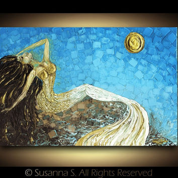 Large Modern Mermaid fantasy sunrise by Susanna 24x36 PRINT