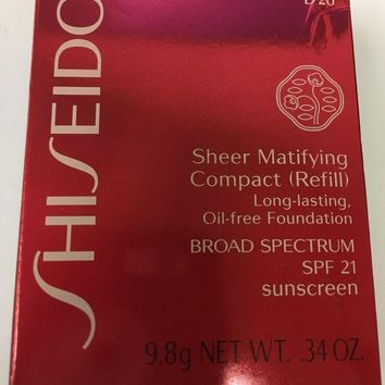 SHISEIDO SHEER MATIFYING COMPACT REFILL  SPF21 D20 RICH BROWN Unboxed