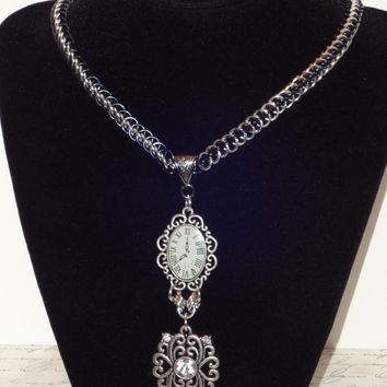 Steampunk Inspired Clock and Bauble Half Persian Chainmailled Necklace...SRAJD