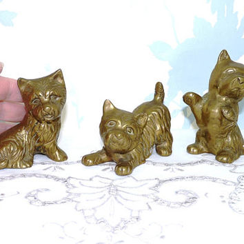 3 x Solid Brass Scottie or West Highland Terrier Dogs, Figurine,  Paperweight, Cast Brass, English Brass, Made in England, Homewares
