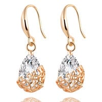 Gold/Silver Crystal Drop Earrings Pair High Quality Jewelry Love Romance