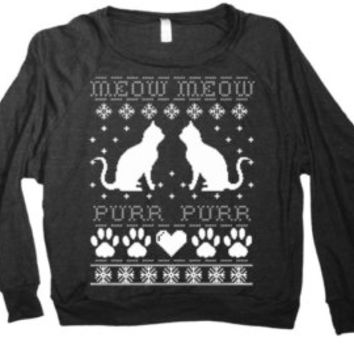 Ugly Christmas Sweater Cats Sweatshirt Pullover Meow Meow